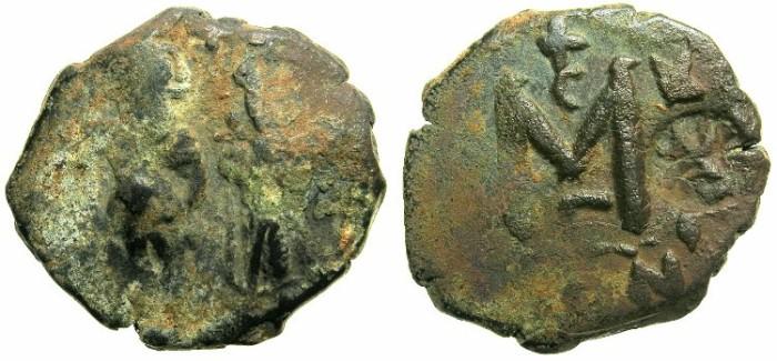 Ancient Coins -  BYZANTINE EMPIRE.Heraclius AD 610-641.AE.Follis.~#~ single Heraclian monogram countermark