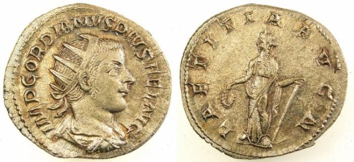 Ancient Coins - ROME.Gordian III AD 238-244.AR.Antoninianus.Laetitia standing.