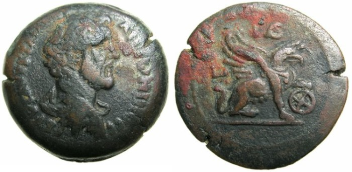 Ancient Coins - EGYPT.ALEXANDRIA.Antoninus Pius AD 138-161.AE.Drachma, struck AD 150/151.~#~.Griffin standing right, left foot on wheel.