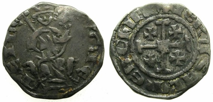 Ancient Coins - CRUSADER.CYPRUS.Hugh IV AD 1324-1359.AR.Gros Petit.HUGUE legend