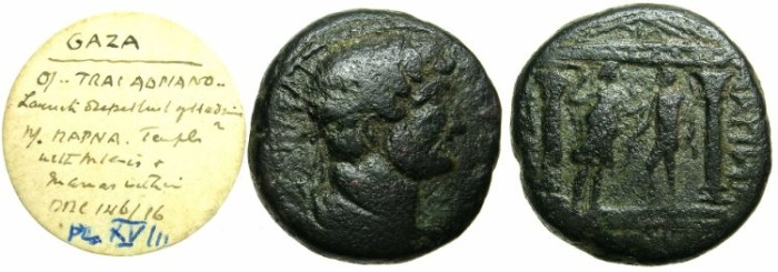 Ancient Coins - JUDAICA.GAZA.Hadrian AD 117-138.AE.26mm.Distyle temple with Artemis and Marnas.
