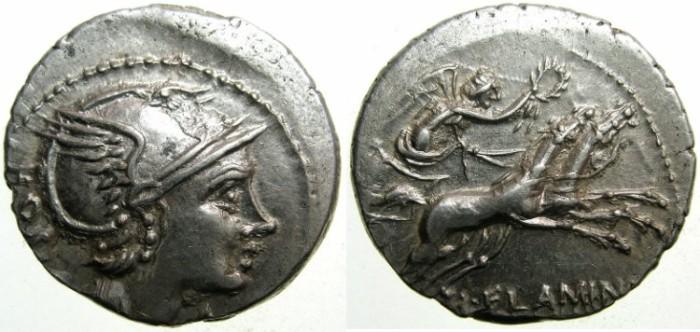 Ancient Coins - ROME.REPUBLIC.L.Flaminius Cilo 109/08 BC.AR.Denarius.~~~ROMA.~#~.VICTORY in biga.