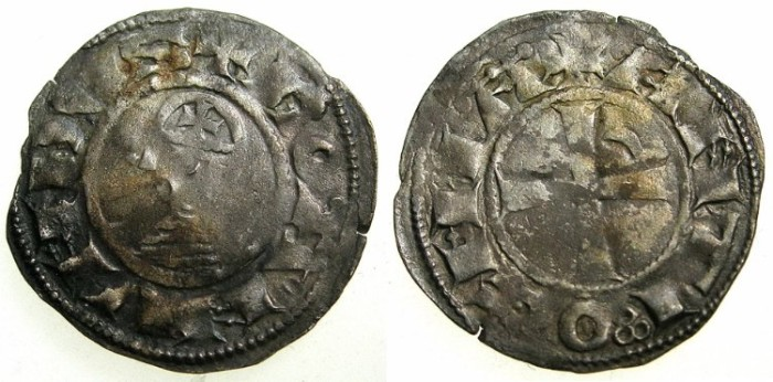 World Coins - CRUSADER STATES.Principality of  ANTIOCH. Bohemond III or IV c.1149-1233 Bi.Denier. Class E .