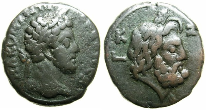 Ancient Coins - EGYPT.ALEXANDRIA.Commodus, sole reign AD 180-192.Billon Tetradrachm, struck AD 186/87.~#~.Head of Zeus wearing modius.