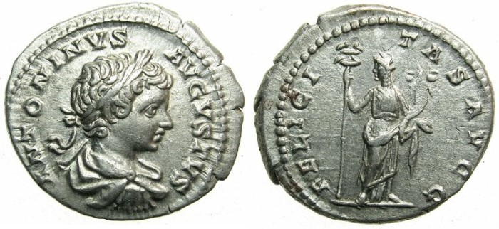 Ancient Coins - ROMAN.Caracalla Augustus AD 198-209.AR.Denarius 1st group  AD 201-206.~~~Felicitas.
