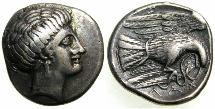 Ancient Coins - EUBOEA.CHALKIS.Circa 338-308 BC.AR.Drachma.The nymph Chalkis.Eagle and serpent.