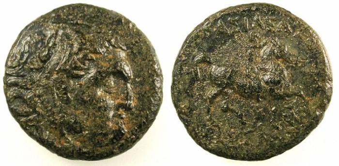 Ancient Coins - MACEDON.Kassander 319-297 BC.AE.19.Herakles.Rev.Rider right.