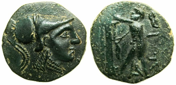 Ancient Coins - CELTIC.Circa 2nd cent BC.AE.Imitation after Macedonian issue of Antigonus Gonatas ( 277-239 BC ).Athena wearing Corinthian helmet.Pan erecting trophy.