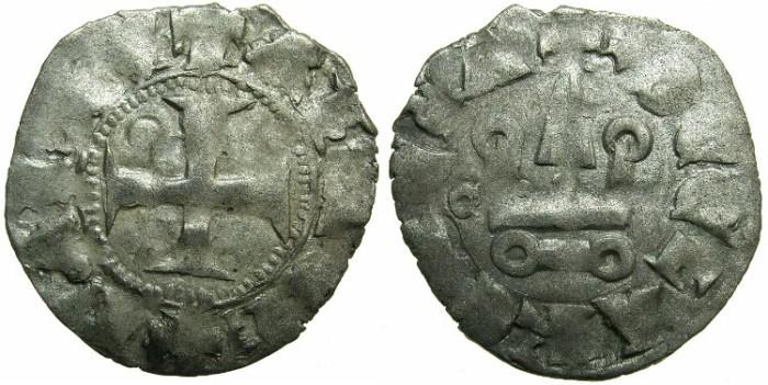 World Coins - CRUSADER STATES.ACHAIA.Mahault of Hainault AD 1316-1321.Bi.Denier.Type MA2.