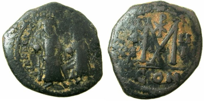 Ancient Coins - BYZANTINE EMPIRE.Heraclius AD 610-641.AE.Follis, struck AD 612/613.Mint of CONSTANTINOPLE.