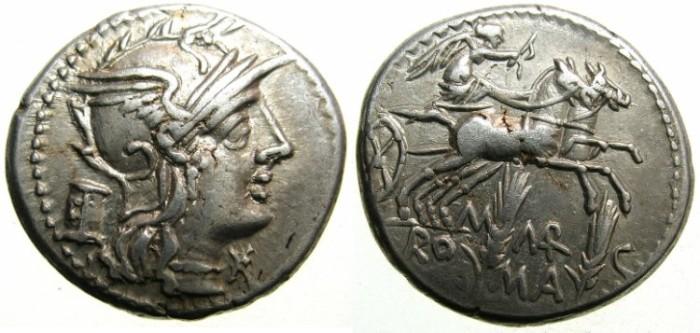 Ancient Coins - ROME.REPUBLIC.M.Marcius Mn f 134 BC.AR.Denarius.~~~ROMA.Reverse.VICTORY in biga.