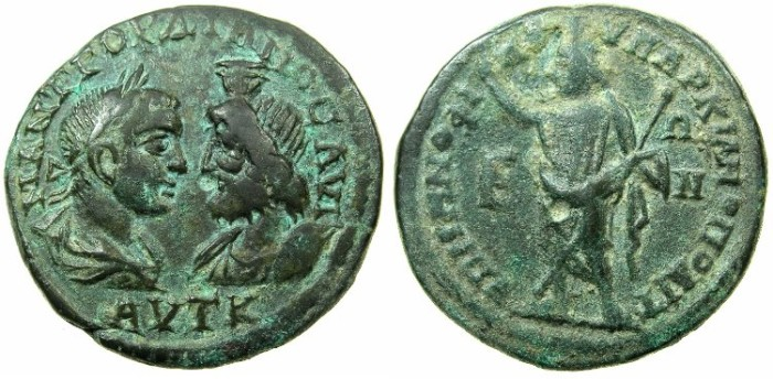 Ancient Coins - MOESIA INFERIOR.MARCIANOPOLIS.Gordian III and Serapis AD 238-244.AE.5 Assaria.~#~.Serapis standing.