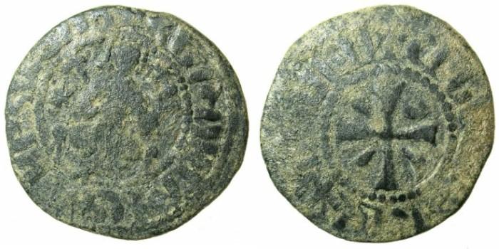 Ancient Coins - ARMENIA.Hetoum I AD 1226-1270.AE.Kardez.Mint of Sis.King enthroned.Cross.