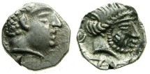 Ancient Coins - SOUTH ARABIA.KATABANIAN. end 1st cent BC to 1st cent BC.AR.Unit.~~~.Beardless male head.~#~.Bearded male head.