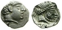 Ancient Coins - SOUTH ARABIA.KATABANIAN. end 1st cent BC to 1st cent BC.AR.Unit.~~~.Beardless male head.~#~.Bearded male head.