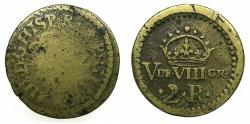 World Coins - FRANCE.Circa 18th cent AD.Brass coin weight for Spanish 2 Reals.