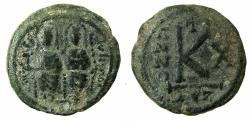 Ancient Coins - BYZANTINE EMPIRE.Justin II AD 565-578.AE. Half follis. Miltitary mint, after mint of CYZICUS.