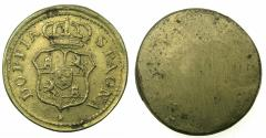 World Coins - ITALY.MILAN? Late 18th cent. Brass weight for Spanish gold 4 Escudos.