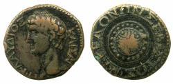 Ancient Coins - MACEDON.KOINON OF MACEDON.Claudius AD 41-54.AE.23.6mm.~#~.Macedonian shield.