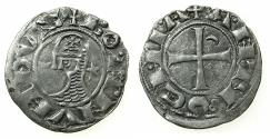 World Coins - CRUSADER STATES.Principality of ANTIOCH. Bohemond III or IV c.1149-1233 Bi.Denier. Class E . Unpublished?obverse die with double cross on helmet