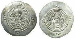 Ancient Coins - SASANIAN EMPIRE. Khusru II 2nd reign AD 591-628.AR.Drachm.Regnal Year 35.Mint Sh I=Shiz.