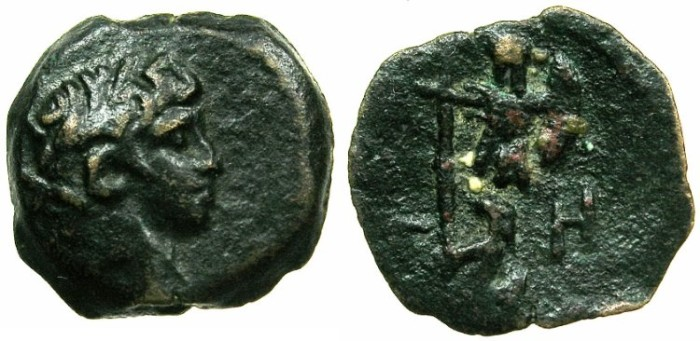 Ancient Coins - EGYPT.ALEXANDRIA.Nero AD 54-68.AE.Obol, struck AD 61/62.~#~.Parthina captive, comm,defeat of Parthians in Armenia.