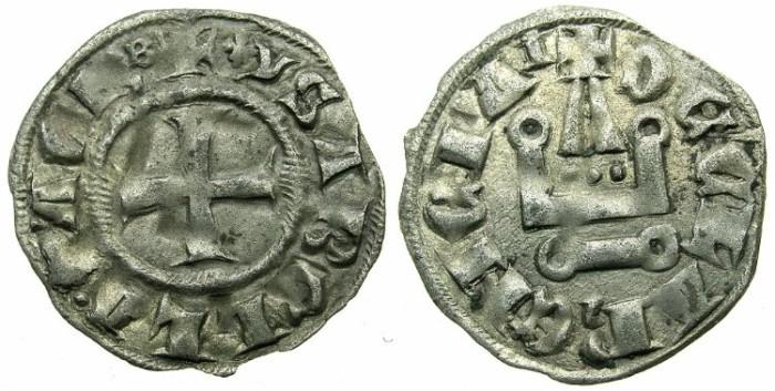Ancient Coins - CRUSADER STATES.GREECE.Principality of ACHAIA.Isabella of Villehardouin AD 1289-1297.Bi.Denier.Type Y1