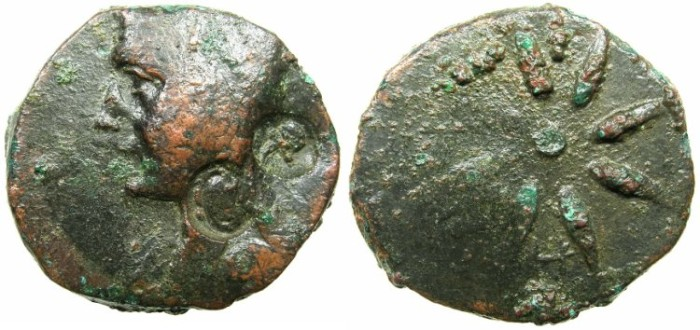 Ancient Coins - BLACK SEA.PONTUS.Circa 1st cent BC.Anonymous issue.AE.28.1mm.Male head.Reverse Star.