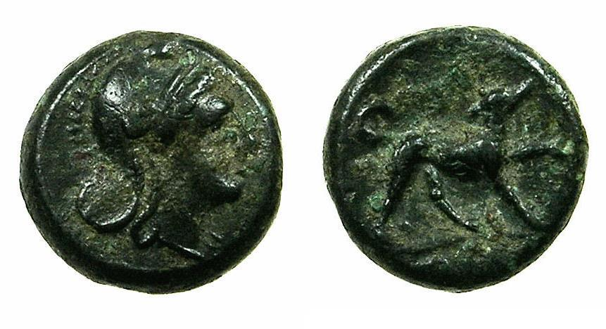Ancient Coins - ROME.REPUBLIC.Anonymous issue circa 235 BC.AE.Half Unit. Bust of Roma. Reverse.Hound.