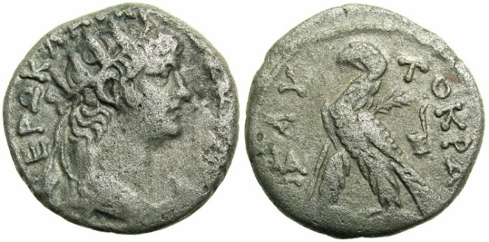 Ancient Coins - EGYPT.ALEXANDRIA.Nero AD 56-68.Bi.Tetradrachm.Struck 64/65.~#~. Eagle and Simpulium