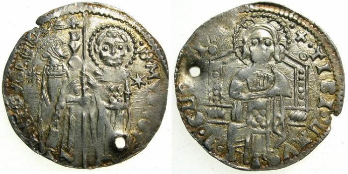 "Ancient Coins - ITALY.VENICE.Antonio Venier AD 1382-1400.AR.Grosso."""""" Pierced for suspension """""""