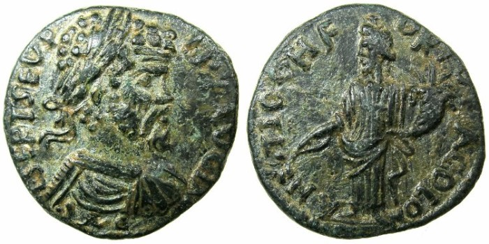 Ancient Coins - PISIDIA.ANTIOCH.Septimius Severus AD 193-211.AE.22mm.~#~ Male genius of the city.