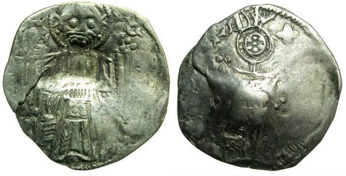 Ancient Coins - SERBIA.Stefan VIII Uros IV Dusan as Emperor AD 1345-1355.AR.Dinar.~~~Bulgarian countermark plain square incuse.