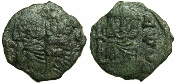 Ancient Coins - BYZANTINE EMPIRE.Constantine V AD 741-775 with associate ruler Leo IV from AD 751.AE.Follis.Mint of SYRACUSE.~~~Imperial figures without Akakia