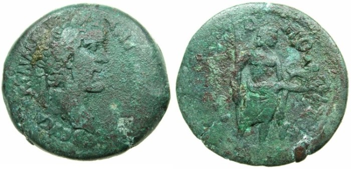 Ancient Coins - EGYPT.LEONTOPOLITE NOME.Antoninus Pius AD 138-161.AE.Drachma, struck AD 144/145.~#~Horus?standing holding lion. ****  VERY RARE NOME ISSUE  ****