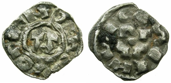 Ancient Coins - CRUSADER.1st crusade:preferred coinage.TUSCANY.LUCCA.12th cent.AD.Bi.Denier.Smooth style.