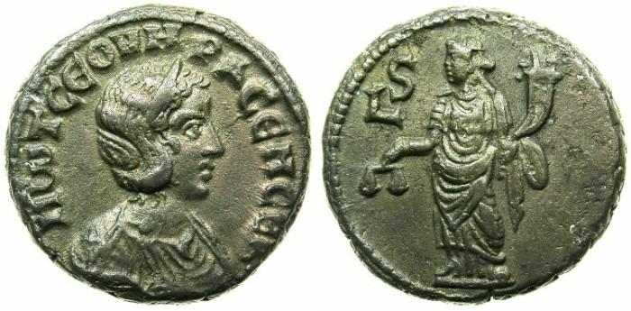 Ancient Coins - EGYPT.ALEXANDRIA.Otacilia Severa AD 244-249.Billon Tetradrachm, struck AD 248/249.~#~.Dikaiosyne standling.