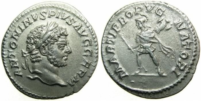 Ancient Coins - ROMAN.Caracalla Sole emperor AD 212-217.AR.Denarius, undated c.213-217.Mars.
