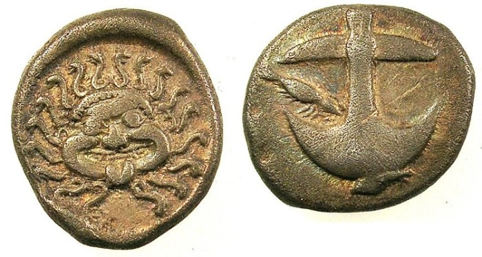 Ancient Coins - THRACE.Apollonia Pontika.C.450-400 BC.AR.Drachma.Anchor.Rev.Gorgoneion