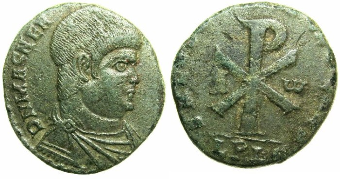 Ancient Coins - ROMAN.Magnentius AD 350-353.AE.Double Centinionalis.Mint of LYONS.Chi-Rho monogram.
