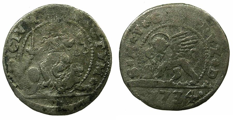 World Coins - ITALY.VENICE.Carlo Rizzini 1732-1735.Billon 5 Soldo 1734.
