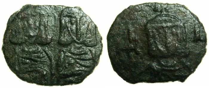 Ancient Coins - BYZANTINE EMPIRE.SICILY.Constantine V AD 741-775 with Leo IV AD 751-775.AE.Follis.Syracuse mint.