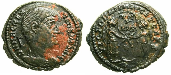 Ancient Coins - ROMAN.Magnentius AD 359-353.AE.Centinionalis.Mint of ROME.~~~Two Victories.