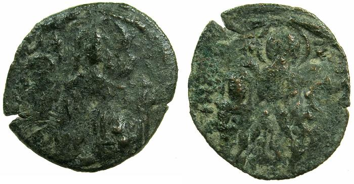 Ancient Coins - BYZANTINE EMPIRE.Andronicus II and Michael IX 1295-1320.AE.Assarion.Class IX. Mint of Constantinople.
