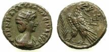 Ancient Coins - EGYPT.ALEXANDRIA.Cornelia Salonina, wife of Gallienus AD 253-268.Billon Tetradrachm, struck AD 265/66.~#~. Eagle standing on thunderbolt.