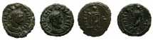 Ancient Coins - EGYPT.ALEXANDRIA.Diocletian AD 285-305.Billon Tetradrachms, struck AD 292/293.~#~.Elpis, 2 coins one with retrograde symbol for year