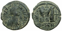 Ancient Coins - BYZANTINE EMPIRE.Justinian I AD 527-565.AE. Follis.Mint of CONSTANTINOPLE.~~~Cross before bust.