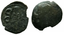 Ancient Coins - BYZANTINE EMPIRE.THESSALONIKI.Andronicus II AD 1282-1328.AE.Trachy. Obverse brockage.