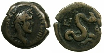 Ancient Coins - EGYPT.ALEXANDRIA.Antoninus Pius AD 138-161.AE.Diobol, struck AD 151/2.~#~.The Serpent Agathodaemon.