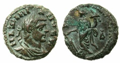 Ancient Coins - EGYPT.ALEXANDRIA.Maximianus Gallerius AD 293-311, as Caesar AD 293-305.Billon Tetradrachm, struck AD295/6.~#~.Tyche standing left holding rudder.
